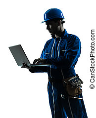 man construction worker computing computer silhouette portrait