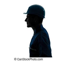 man construction worker profile sideview silhouette portrait...