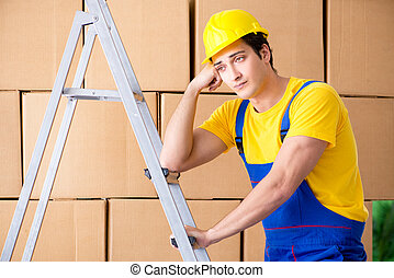 Man contractor working with boxes delivery