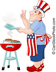Man cooking A Hamburger - Funny Man with Uncle Sam Hat...