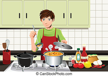 A vector illustration of a young man cooking in the kitchen