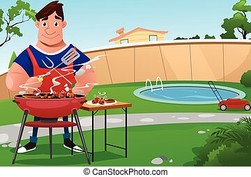Man Cooking BBQ