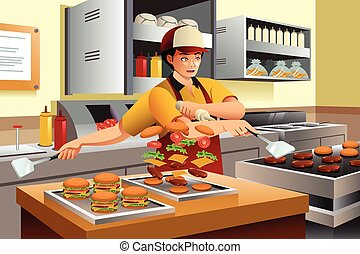 Man Cooking Burgers