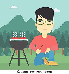 Man cooking meat on barbecue vector illustration.