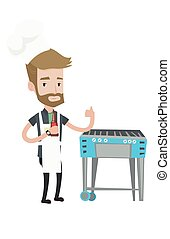Man cooking meat on gas barbecue grill.