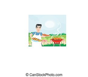 Man Cooking meat on Grill