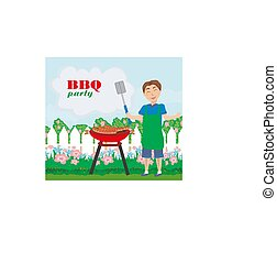 Man Cooking meat on Grill - invitation to the party
