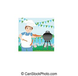 Man Cooking Sausages on Grill