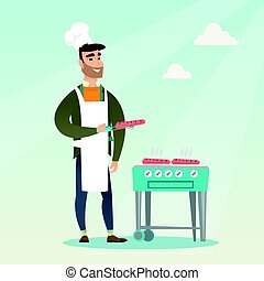 Man cooking steak on barbecue grill.