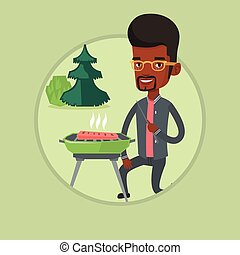 Man cooking steak on barbecue vector illustration.