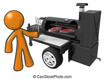 Man cooking steaks on mobile grill - Man preparing steaks on...