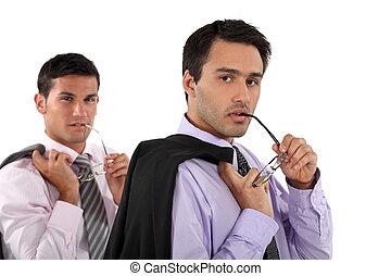 Man copying his colleague