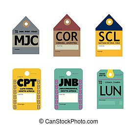man cordoba santiago cape town johannesburg lusaka airline baggage tags flat illustration.