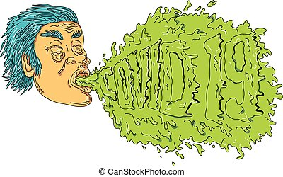 Man Coughing Covid 19 Grime Art - Grime art style ...