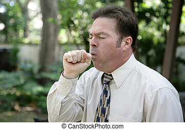 Man Coughing - A middle aged man with a severe cough.