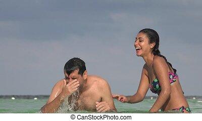 Man Coughing Swimming In Ocean