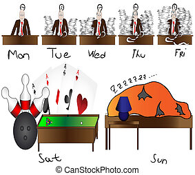 worker overworked - man counting day till weekend,funny lazy...