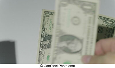 Man counting money of one thousand US dollars. FHD stock footage