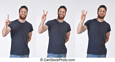 man counting with fingers from one to three