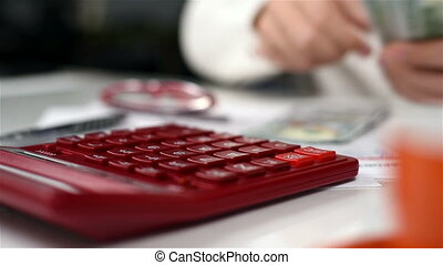 Man Counts Dollars - Accountant Man With Calculator Counts...