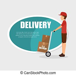 man courier delivery cardboard boxes