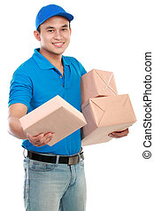 man courier with packages - Young man courier in blue...