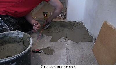 man cover floor cement