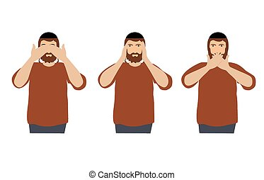Man covering eyes, ears and mouth with hands as looking like the three wise monkeys. Don't see, don't hear and don't speak concept illustration in vector cartoon style.