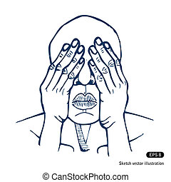 Man covering eyes with hands