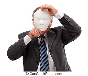 Man covering his face with mask - Business man covering his...