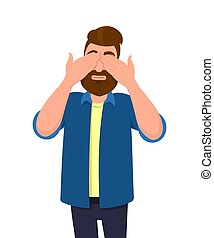 Man covering/closing his eyes with hands and making a don't see gesture. Man does not want to see. Concept illustration in vector cartoon flat style.