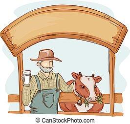Man Cow Farm Milk Sign Board