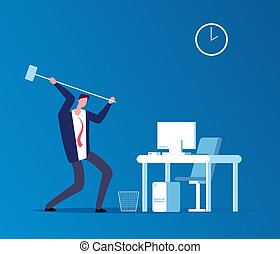 Man crashes computer. Frustrated angry user with hammer crashing workplace in office. Program problems and pc error vector concept
