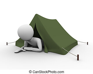 Man crawling out from the tent - 3d rendered copyspaced...