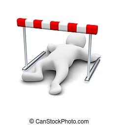 Man creeping under hurdle. 3d rendered illustration.