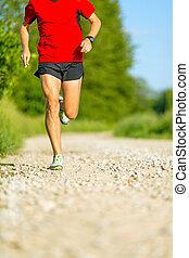 Man cross country trail running