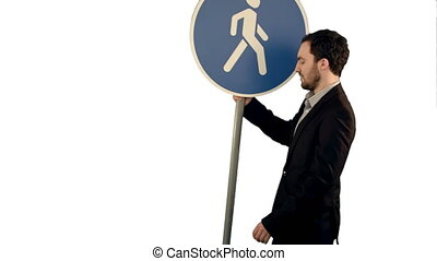 Man cross walk sign on white background isolated