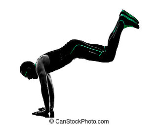 man crossfit  exercises fitness silhouette
