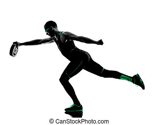 man crossfit  weight disk exercises fitness silhouette