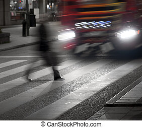 Man crossing street