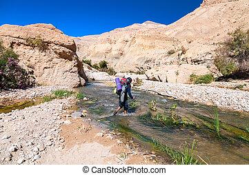 Man crossing the creek