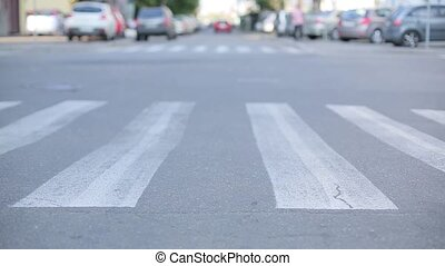 Man crossing the road at a zebra