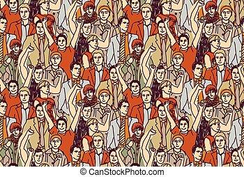 Man crowd big group color seamless pattern.