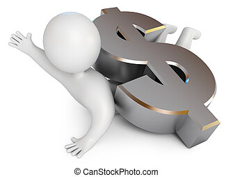 Man crushed by a large metal dollar sign. Bankrupt. Need help. Empty pockets. Isolated on white background. 3d render