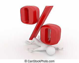 man crushed percent on white isolated background. 3d