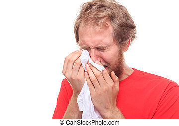 Man crying into his handkerchief - studio shoot