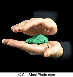 man, cupping, zijn, handen, ongeveer, een, groene, eco, auto