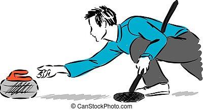 man curling player vector illustration.eps