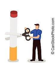 Man cuts cigarette with a giant scissor. Concept of quit ...