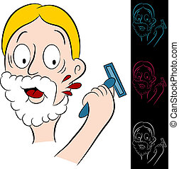Man Cuts Himself Shaving - An image of a man who cuts...